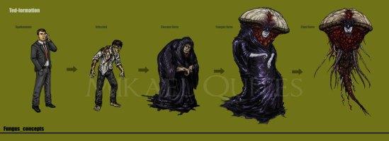 Detalhe para a roupa escura do infectado: quis que ele usasse uma capa de chuva ou um saco de lixo.