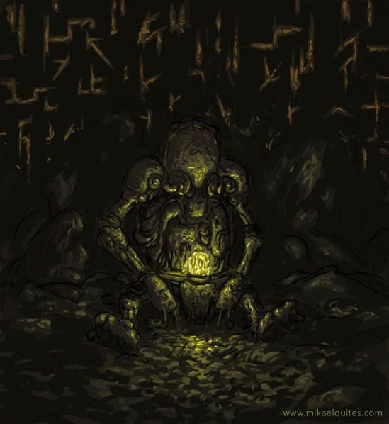 """O alien morto estaria meio fossilizado e dentro de sua nave, que ainda pulsava com um resquício de energia. Notem que nas """"mãos"""" dele há o dispositivo."""