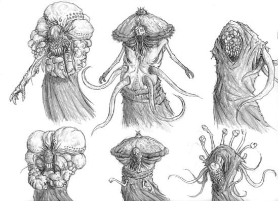 Pensei em variações com insetos, vegetais e fungos pra chegar na versão final.