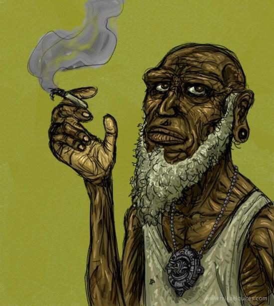 Eis o neandertal atualmente. Como ele viveu so far? Aliens, my friend. Outro ponto interessante: misturei características aborígenes pra ele ficar um pouco diferente do convencional.