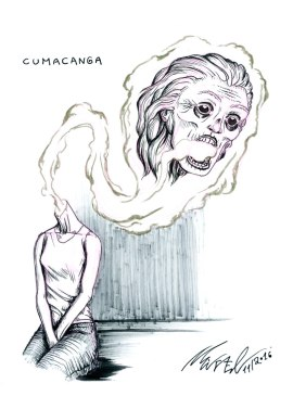 Cumacanga, a creature from brazilian folklore. It is a cursed woman that at night has its head detached from its body to become a flaming thing that haunts and spreads evil and madness.