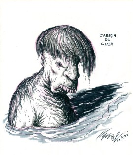 Cabeça de Cuia (Bowl Head), creature from brazilian folklore. A cursed boy which was turned into an aggressive hideous amphibious creature that inhabits a river in northeastern Brazil. It needs to eat certain types of women every 10 years or so in order to cure its curse.