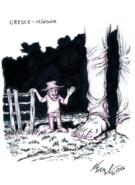 Cresce-Míngua/Grow-and-Shrink, characters from brazilian folklore. They are two mini men that grow extremely high very fast and then shrink again. They haunt farm gates and fences at night, bringing a lot of misfortune to those that see them.