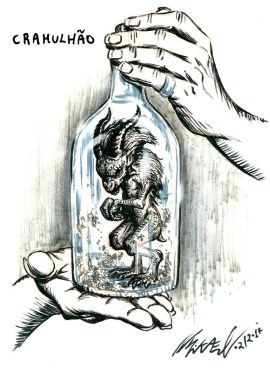 Cramulhão or Famaliá/Small Bottled Familiar, a creature from brazilian folklore. Also found in other countries.They say it can fulfill all your wishes with its magic, but at a high cost. All it demands in care is a drop of its owner's blood from time to time. And that there is a recipe to create one. You need to find a rooster's egg, sometimes a cat's eye, and leave it in a pile of dung while you say the ritual, giving your soul to an evil creature. After 40 days you can find in that spot the little thing, knowing you will have all you want and that your soul is doomed.