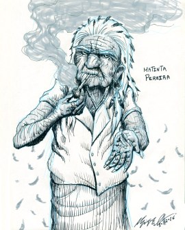 Matinta Pereira, from brazilian folklore. The Matinta is a character that, during the night, is manifested as a scary whistling bird. If you happen to hear it, or reply to it, the next day an old woman will show at your place asking for tobacco. You better give a bit to her, otherwise you will suffer some kind of unfortunate event.