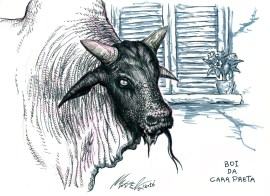 Black-Faced Ox, creature from brazilian folklore. Featuring in an old children's song, the Black-Faced Ox is supposed to catch the child that misbehaves and is frightened to grow up. Boi, in this case, is derived from Mboi, which in tupi (a language used by some indigeous groups) means snake.