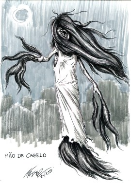 Hand of Hair, a creature from brazilian folklore. When children misbehave during the night, or urinate in the bed, they may feel a hairy touch in their sleep. It is the Hand of Hair going to punish them, sometimes through castration (!).
